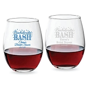 Bachelorette Bash Bubbly Personalized Stemless Wine Glass (9 oz or 15 oz)