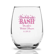 Bachelorette Bash Bubbly Personalized 9 oz Stemless Wine Glass