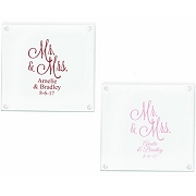 Mr. and Mrs.  Personalized Glass Coaster