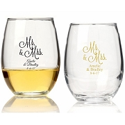Personalized Stemless Wine Glass (9 oz or 15 oz) - Mr. and Mrs. Design