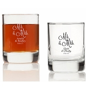 Mr. and Mrs. Personalized Wedding Shot Glasses (3.5 oz)