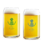 Tropical Pineapple Palm Beach Personalized 16 oz Beer Can Glass