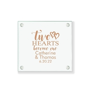 Two Hearts Become One Personalized Glass Coasters