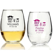 Personalized Stemless Wine Glass (9 oz or 15 oz) - Mr. and Mrs.