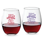 Today Our Adventure Begins Personalized Stemless Wine Glass (9 oz or 15 oz)