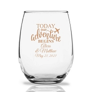Today Our Adventure Begins Personalized 9 oz Stemless Wine Glass