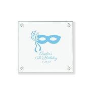 Masquerade Mask Sweet 15 or 16 Personalized Glass Coaster