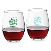 Last Fling Before the Ring Personalized Stemless Wine Glass (9 oz or 15 oz)