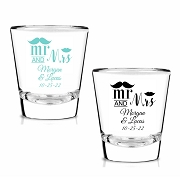 Mr and Mrs Mustache Lip Personalized Shot Glasses (1.75 oz)