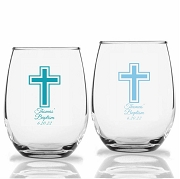 Religious Cross Personalized Stemless Wine Glasses (9 oz or 15 oz)