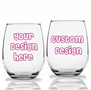 Custom Design Personalized Stemless Wine Glass (9 oz or 15 oz)
