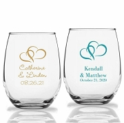 Double Hearts Personalized Stemless Wine Glass (9 oz or 15 oz)