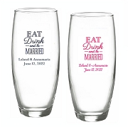 Eat Drink And Be Married Personalized Stemless Champagne Glasses (9 oz)