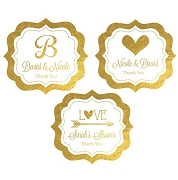 Personalized Metallic Foil Frame Labels - Wedding