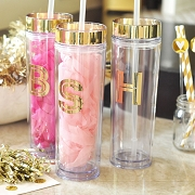 Metallic Gold Monogram Tumblers (16 oz)