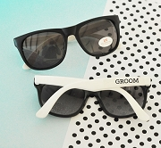 White/Black Groom & Groomsman Sunglasses - Bachelor Party Sunglass Favors (set of 6)
