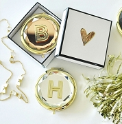 Monogram Compact Mirrors with Metallic Gold Initial