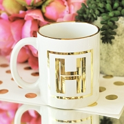 Metallic Gold Monogram Coffee Mug