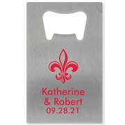 Personalized Silver Credit Card Bottle Opener - Fleur De Lis