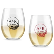 Monogram Floral Wreath Personalized Stemless Wine Glass (9 or 15 oz)