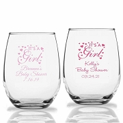 It's a Girl Personalized Stemless Wine Glass (9 oz and 15 oz)