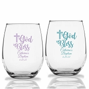 God Bless Personalized Stemless Wine Glasses (9 oz or 15 oz)