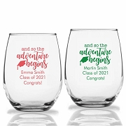 And So the Adventure Begins Stemless Wine Glasses (9 oz or 15 oz)
