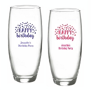 Happy Birthday Personalized Stemless Champagne Glasses (9 oz)
