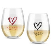 Rustic Heart Personalized Stemless Wine Glasses (9 oz or 15 oz)