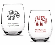 Indian Elephant Design Personalized Stemless Wine Glass (9 oz or 15 oz)