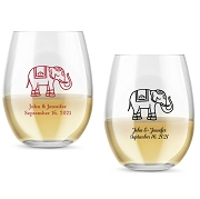Lucky Elephant Personalized Stemless Wine Glass (9 oz or 15 oz)