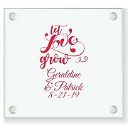 Let Love Grow Personalized Wedding Coaster