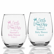 Little Princess Baby Shower Wine Glasses (9 oz or 15 oz)