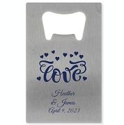 Personalized Silver Credit Card Bottle Opener - Love Hearts