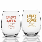 Lucky In Love Personalized Stemless Wine Glass (9 oz or 15 oz)