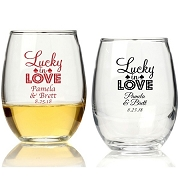 Personalized Stemless Wine Glass (9 oz or 15 oz) - Lucky In Love