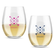 Monogram Arrows Personalized Stemless Wine Glass (9 or 15 oz)