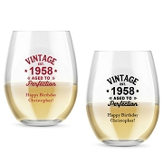 Vintage Birthday Personalized Stemless Wine Glass (9 or 15 oz)