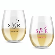 Classic Monogram Personalized Stemless Wine Glass (9 or 15 oz)