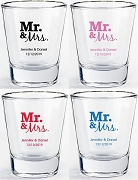 Mr & Mrs. Shot Glass Favors (1.75 oz)