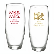 Mr. & Mrs. Block Personalized Stemless Champagne Flute (9oz)