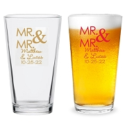 Mr. and Mr. Personalized 16 oz Pint Glass
