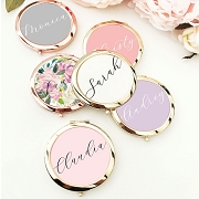 Personalized Bridal Color Compact Mirror - Scrip Names