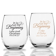 It Is Just The Beginning Personalized Stemless Wine Glass (9 oz or 15 oz)