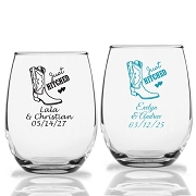 Just Hitched Personalized Stemless Wine Glass (9 oz or 15 oz)