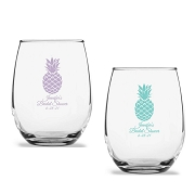 Tropical Pineapple Design Personalized Stemless Wine Glass (9 oz or 15 oz)