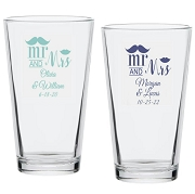 Mr and Mrs Mustache Lip Personalized Pint Glass (16 oz)