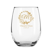 Rustic Wreath Personalized Stemless Wine Glass (9 oz)