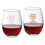 Love You To The Moon & Back Personalized Stemless Wine Glasses (9 oz or 15 oz)