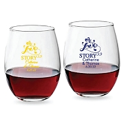 A Love Story Personalized Stemless Wine Glasses (9 oz or 15 oz)